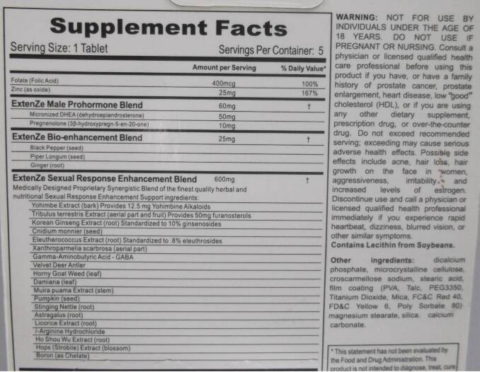Active Ingredients Of Extenze